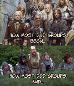 In my experience groups start as a Monty Python skit and end with us all drinking beer and making crude jokes about medieval sex toys.